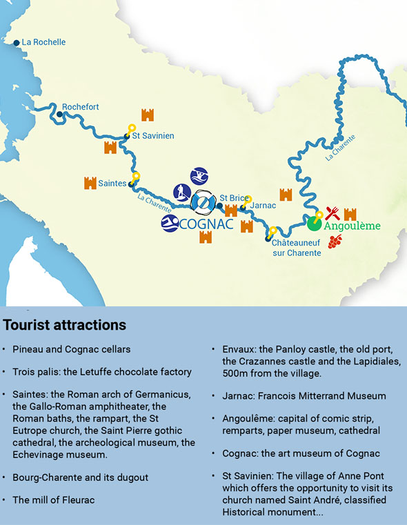 Itinéraires croisière fluviale Charente