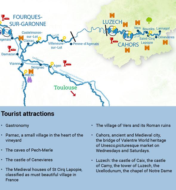 Itinéraires croisière fluviale lot